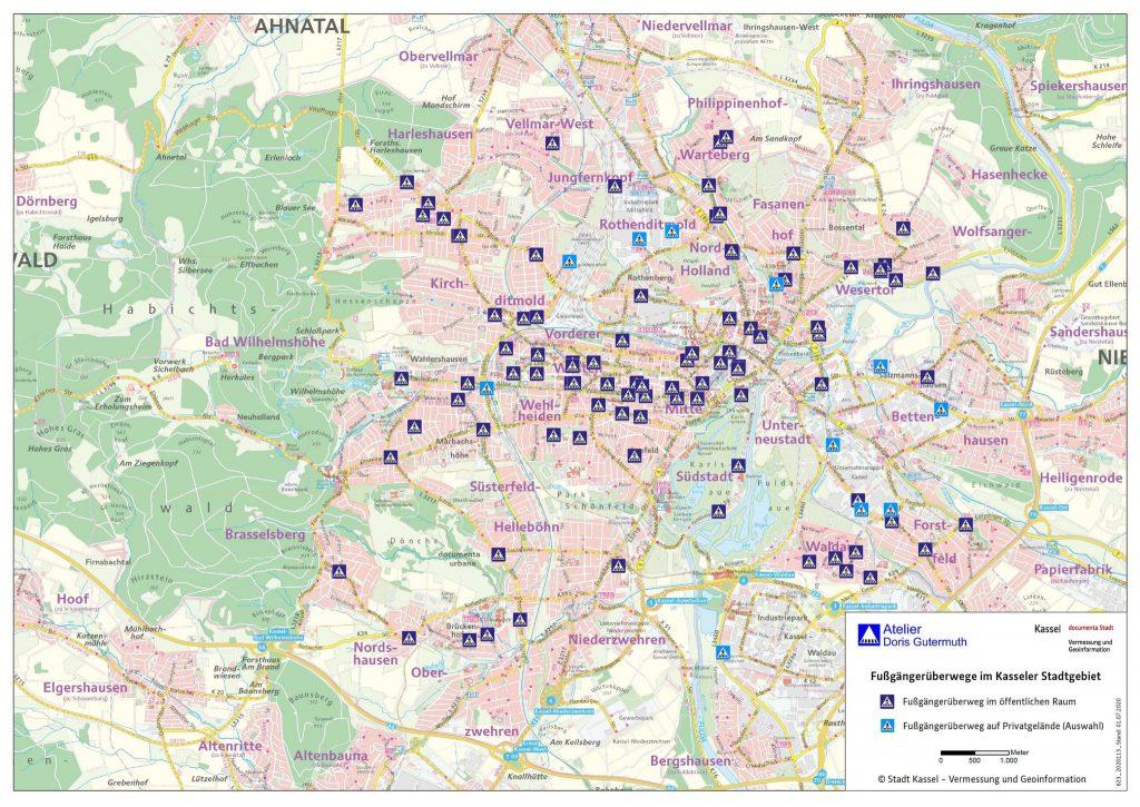 Übersicht Stadtplan mit Fußgängerüberwegen Kassel